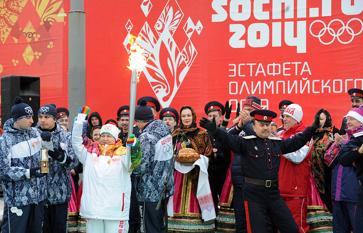 Sochi 2014 Olympic flame arrives in Rostov-on-Don