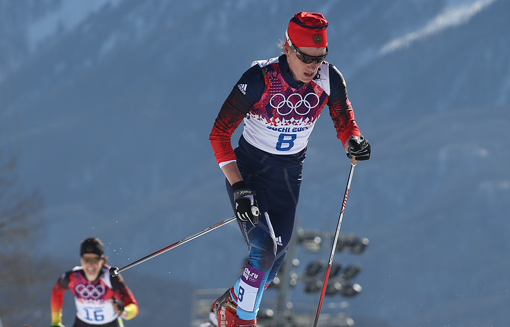 Russian skier Yulia Chekaleva during Olympic cross-country race