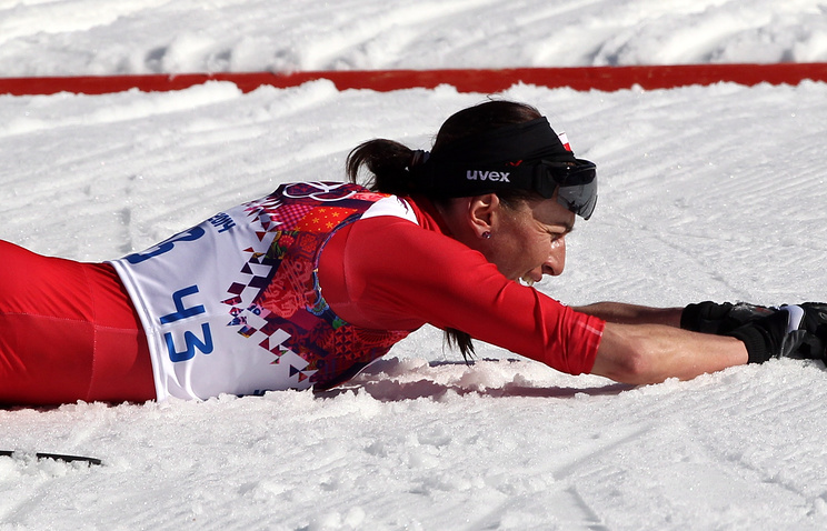 Justyna Kowalczyk of Poland in action during the Women's 10km Classic competition