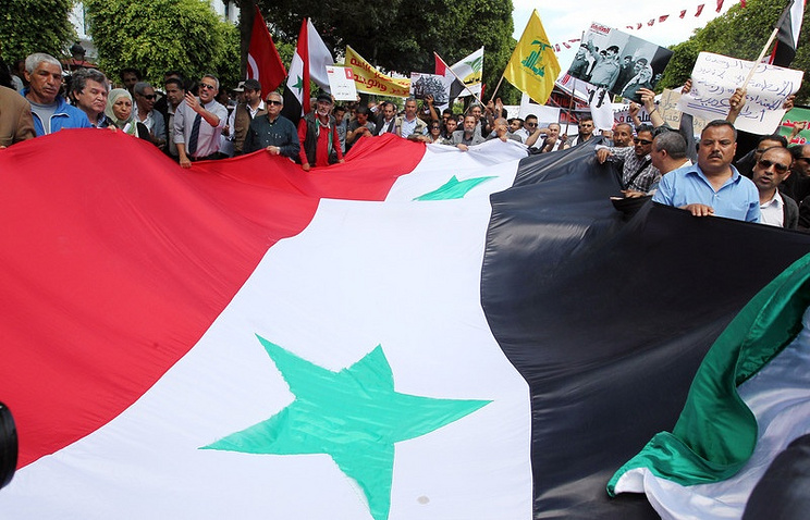 A banner of the Syrian flag