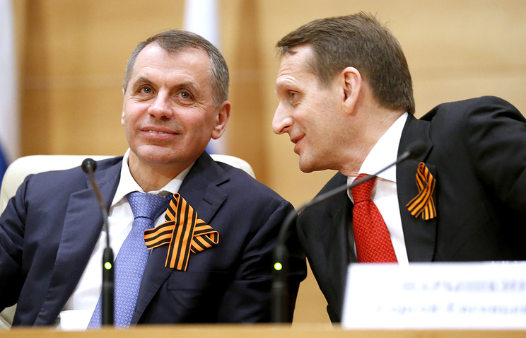 Speaker of Crimean parliament Vladimir Konstantinov and Sergei Naryshkin (right)
