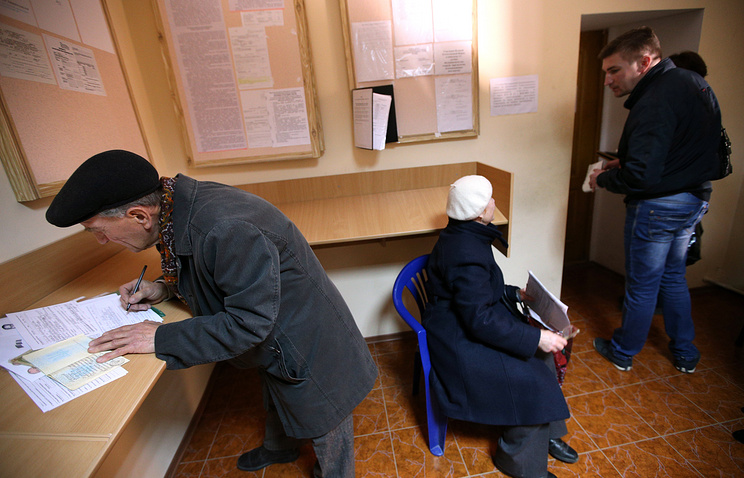 People applying for Russian passports in Crimea