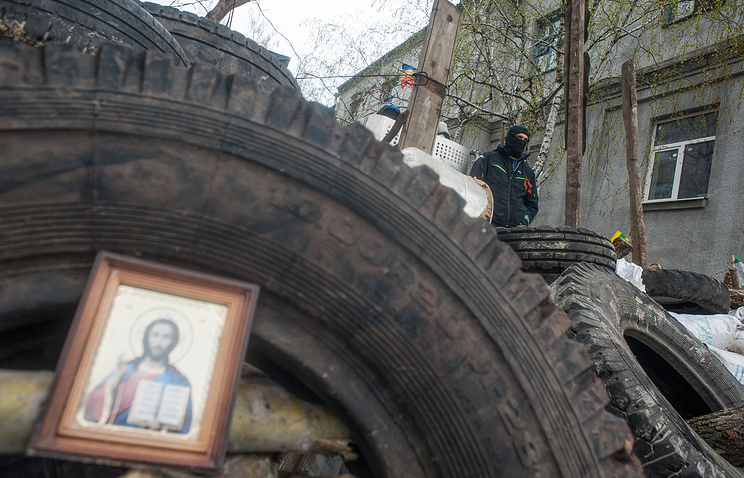 An icon seen at the barricaddes in east Ukraine's Slavyansk