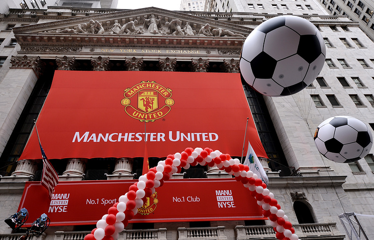 New York Stock Exchange building during the initial public offering of shares of Manchester United