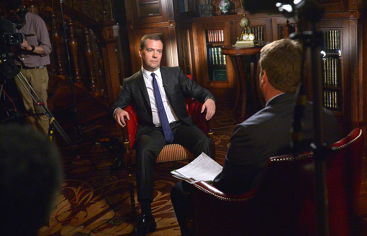 Dmitry Medvedev during his Bloomberg interview