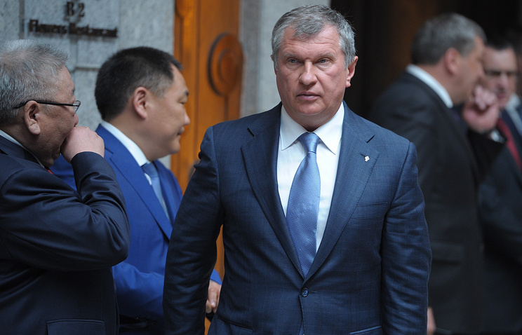 Rosneft CEO Igor Sechin after the signing of joint documents following the Russian-Chinese talks