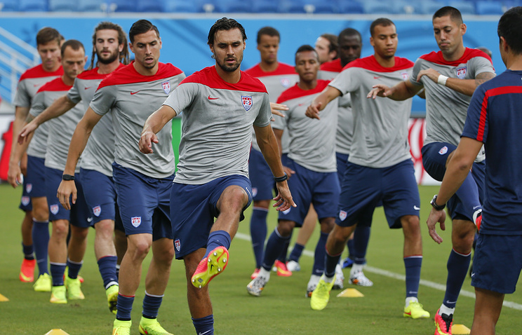 US national soccer team during training session