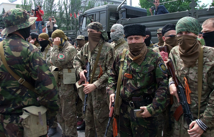 Militia fighters in Donetsk (archive)