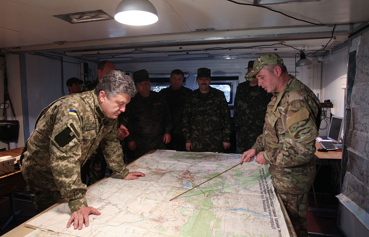 President Petro Poroshenko in the center of the military operation in Ukraine's east