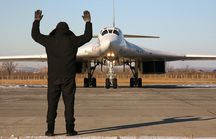 Tupolev Tu-160 (NATO reporting name: Blackjack) supersonic bomber at the Engels Air Force Base