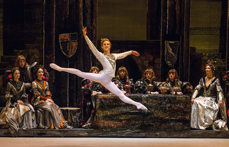 """David Hallberg as Prince Siegfried in a scene from The Bolshoi Ballet's """"Swan Lake"""" presented by Lincoln Center Festival 2014 at The David H. Koch Theater in New York"""