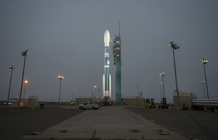 United Launch Alliance Delta II rocket with the Orbiting Carbon Observatory-2 (OCO-2) satellite onboard, moments after the launch gantry was moved at the Space Launch Complex Two, of the Vandenberg Air Force Base, California, USA, 30 June 2014