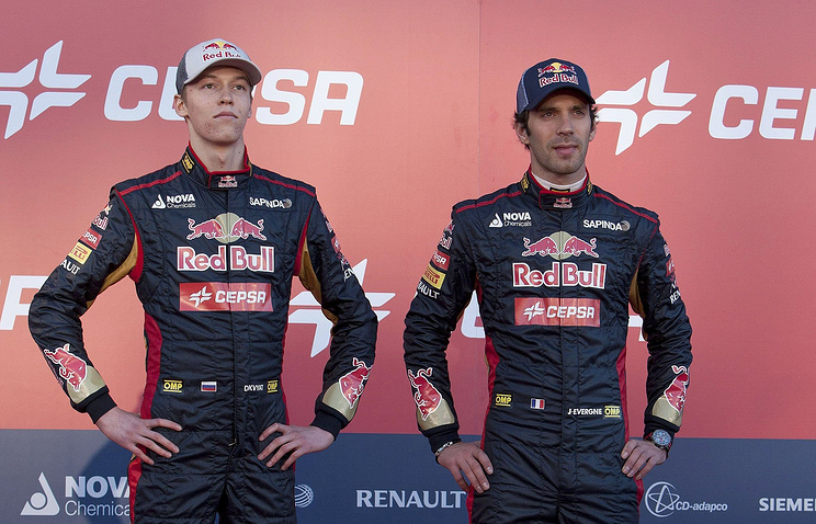 Russian racer Daniil Kvyat and French Jean-Eric Vergne from team Toro Rosso