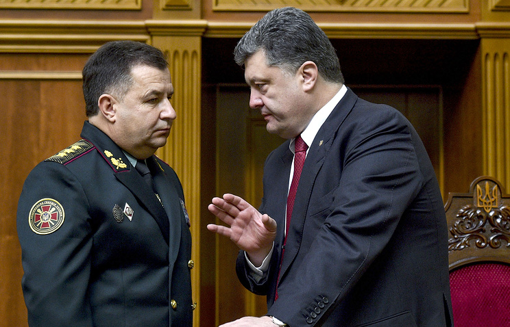 Ukrainian President Petro Poroshenko and the newly-approved Defense Minister Stepan Poltorak