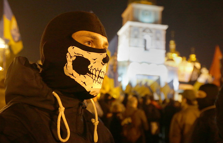 Right Sector group activist in Kiev, Ukraine, 14 October 2014