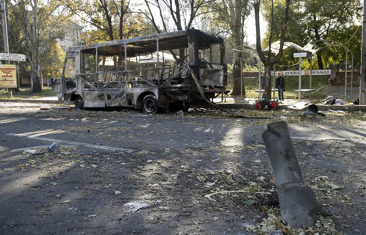 Aftermath shelling in the town of Donetsk, eastern Ukraine, October 1, 2014