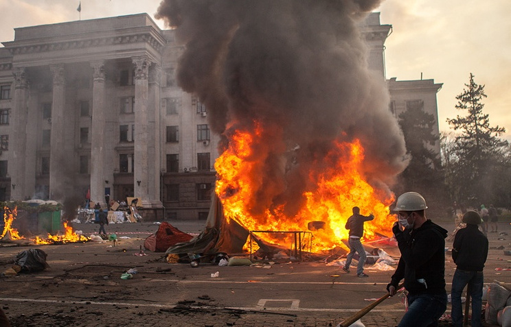 Fire at the regional trade union council building in Odessa, May 2, 2014