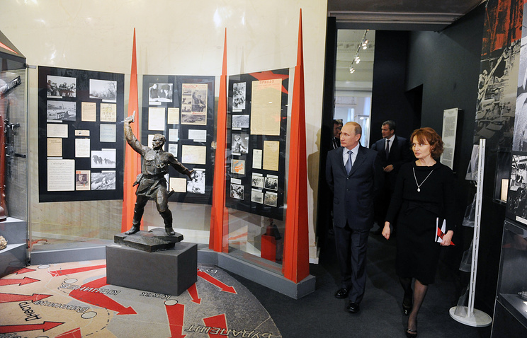 Russia's president Vladimir Putin visits State Central Museum of Contemporary History of Russia