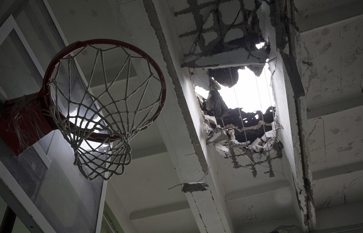 School after shelling in Donetsk, Ukraine (archive)