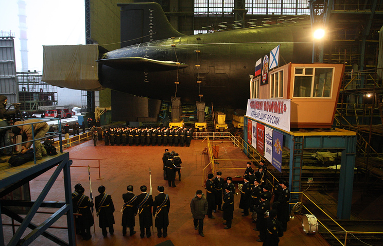 Launching ceremony of Vladimir Monomakh nuclear sub at the Sevmash shipyard, 2012
