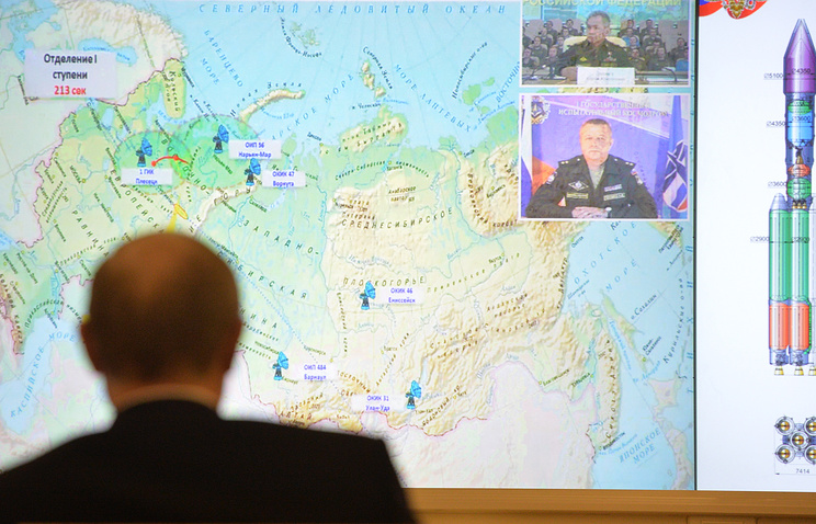 Russian President Vladimir Putin observing the launch of Angara-A5 heavy-lift carrier rocket