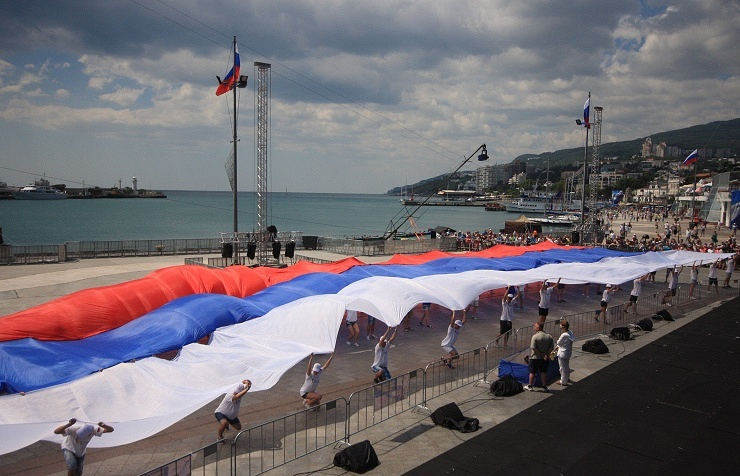 50 meter long Russian national flag during celebrations in central Yalta, Crimea, marking the Day of Russia, 12 June