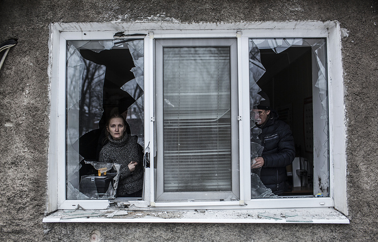 An apartment after artillery fire in the Voroshilovsky area, center of Donetsk, Ukraine