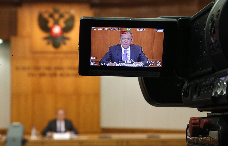Russian Foreign Minister Sergey Lavrov seen during his news conference