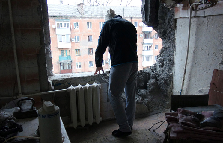 Apartment destroyed as a result of shelling in the Donetsk region