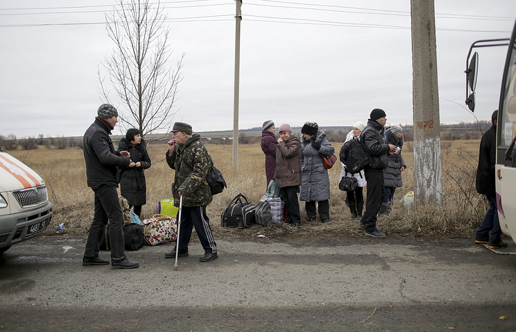 Local citizens before their evacuation from Debaltsevo, Ukraine
