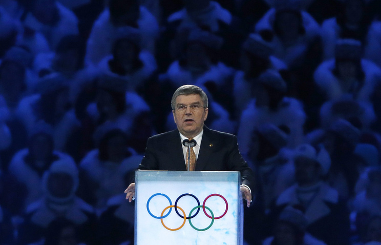 IOC president Thomas Bach speaks during the Opening Ceremony of the Sochi 2014 Olympic Games at the Fisht Olympic Stadium