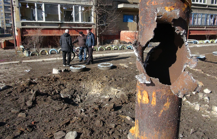 Aftermath of shelling attack in eastern Ukraine