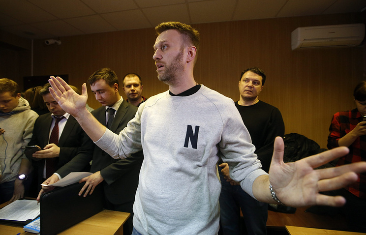 Alexey Navalny in court on Feb. 19