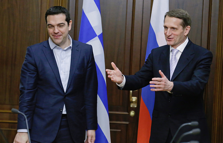Greek Prime Minister Alexis Tsipras and Russian State Duma Speaker Sergey Naryshkin (right)