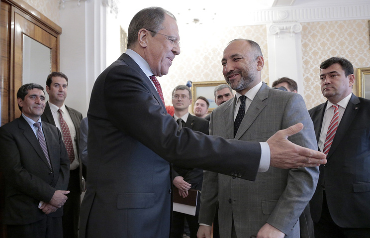 Russian Foreign Minister Sergey Lavrov and Afghan president's advisor Mohammad Hanif Atmar