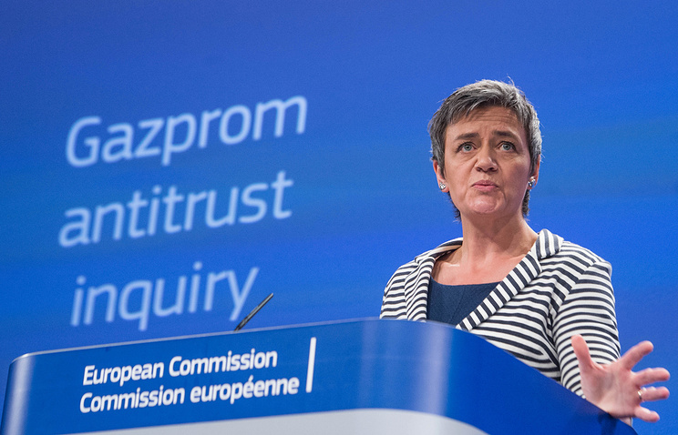 European Commissioner for Competition Margrethe Vestager gives a press conference relating to Russian gas giant Gazprom at the EU Commission headquarters in Brussels, Belgium, 22 April 2015