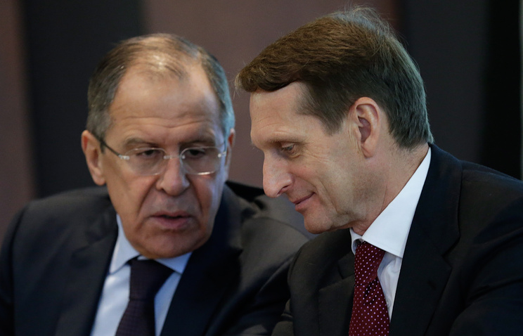 Russian Foreign Minister Sergey Lavrov and Duma Speaker Sergey Naryshkin