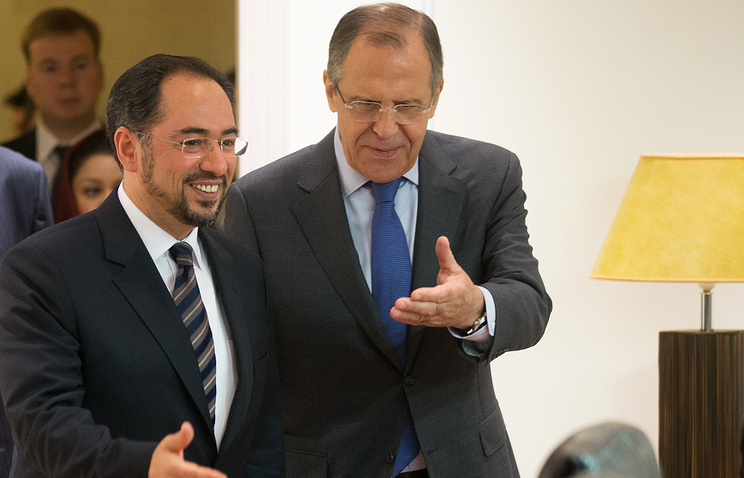 Afghan and Russian Foreign Ministers Salahuddin Rabbani and Sergei Lavrov at the Moscow session of SCO Foreign Ministers Council