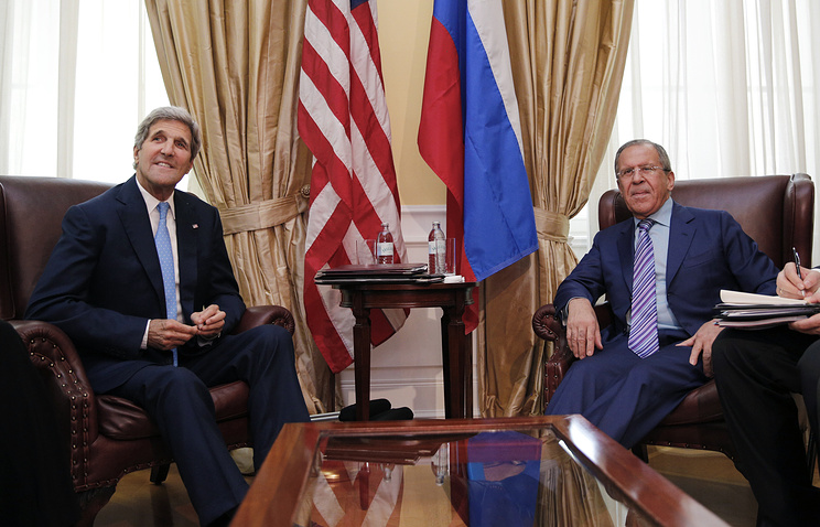 US Secretary of State John Kerry meets with Russian Foreign Minister Sergey Lavrov at a hotel in Vienna Tuesday June 30, 2015