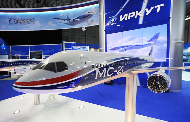 A model of a new civil narrow- body aircraft MS-21 of Irkut company on display at the MAKS-2009 air show in Zhukovsky