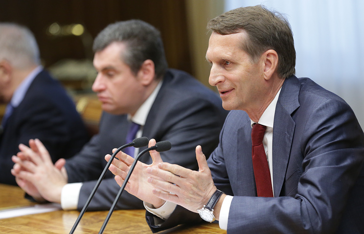 Russian State Duma Speaker Sergey Naryshkin at meeting with French delegation