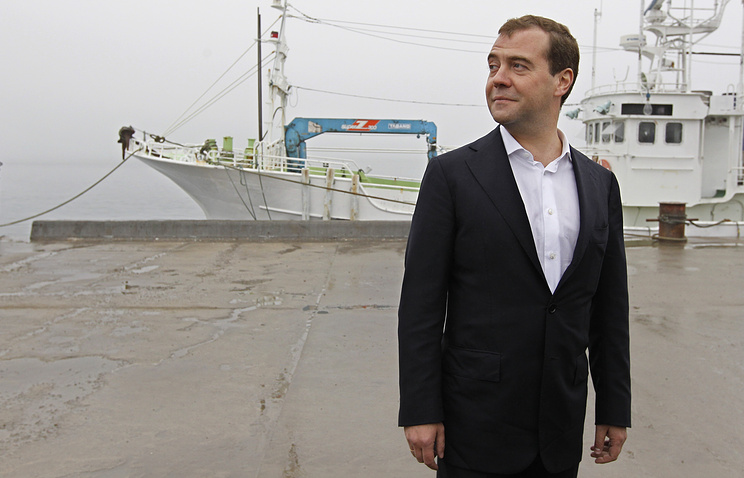 Russia's Prime Minister Dmitry Medvedev in South Kuril bay on Kunashir Island in the southern Kuril Islands on July 3, 2012