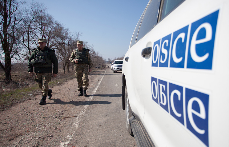 An OSCE car seen in eastern Ukraine
