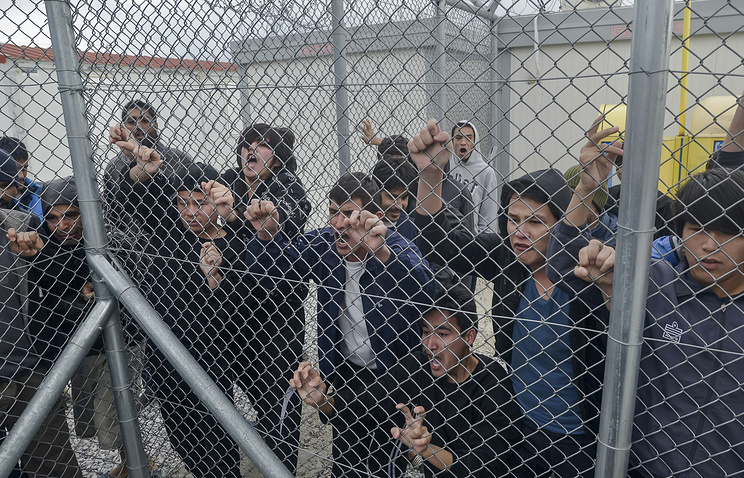 Migrants at the Foreigners Detention Center in Greece