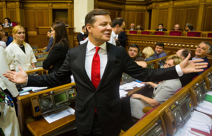Oleg Lyashko during session of Verkhovna Rada