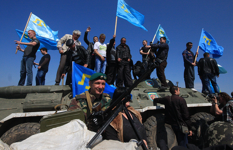Crimean Tatars at Turetsky Val crossing point on the Russian-Ukrainian border in May 2014