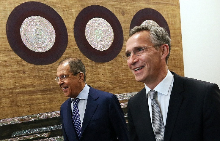 Russian Foreign Minister Sergey Lavrov and NATO Secretary General Jens Stoltenberg