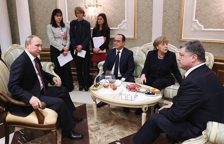 Russian, German, French, and Ukrainian leaders in the Normandy Four forma