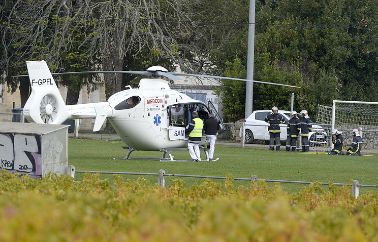 French emergency service helicopter ready for take off following the fatal bus crash in southwestern France