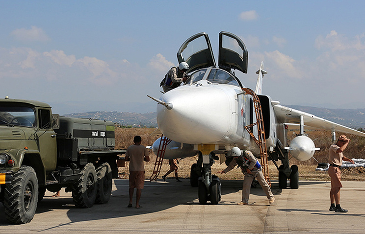 Russian servicemen at the Hmeymim airbase in Syria